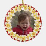 Ornamento tropical de la foto de los leus del adorno navideño redondo de cerámica
