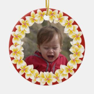 Ornamento tropical de la foto de los leus del adorno redondo de cerámica