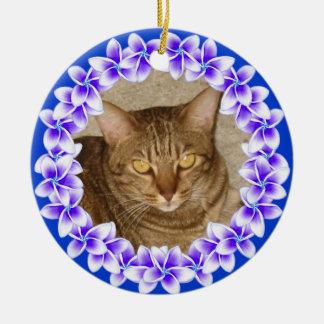 Ornamento tropical de la foto de los leus del Plum Adornos De Navidad