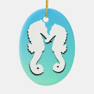 Ornamento tropical de la foto del Seahorse de la Adorno Ovalado De Cerámica