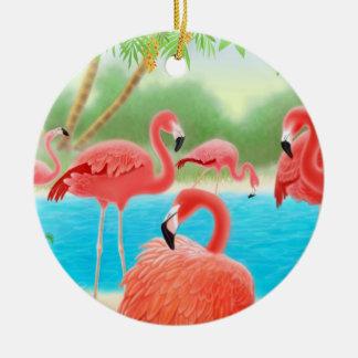 Ornamento tropical de la laguna del flamenco adorno de navidad