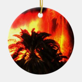Ornamento tropical del navidad del volcán caliente adorno navideño redondo de cerámica