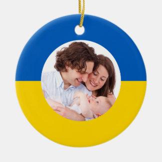 Ornamento ucraniano del navidad de la foto de adorno redondo de cerámica