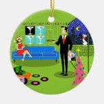 Ornamento urbano retro del navidad de los pares adorno navideño redondo de cerámica
