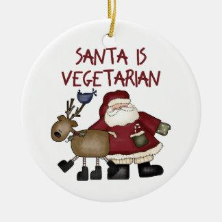 Ornamento vegetariano del navidad adorno navideño redondo de cerámica