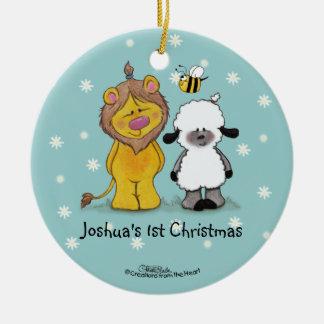 Ornamento verdadero del navidad del león y del adorno navideño redondo de cerámica
