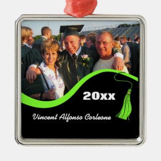 Ornamento verde adaptable de la graduación de la adorno navideño cuadrado de metal