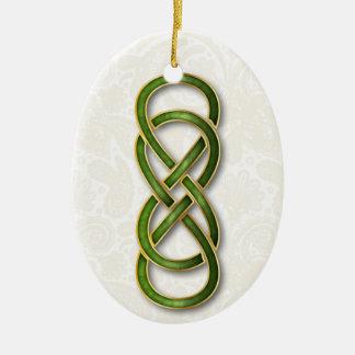 Ornamento verde de Cloisonne del infinito doble
