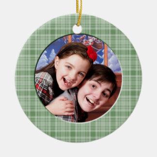 Ornamento verde de encargo de la foto del navidad  adorno de navidad