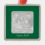 Ornamento verde de fotografía de felices Pascuas Adorno Navideño Cuadrado De Metal