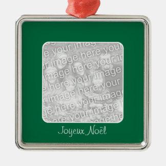 Ornamento verde de fotografía de felices Pascuas Adorno Cuadrado Plateado