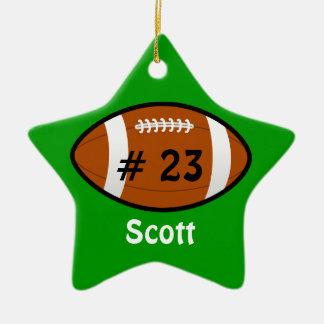 Ornamento verde de la estrella de fútbol adornos de navidad