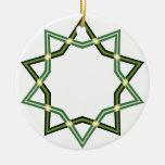 Ornamento verde de la estrella del navidad adorno de navidad