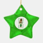 Ornamento verde de la foto de la estrella ornamento para arbol de navidad