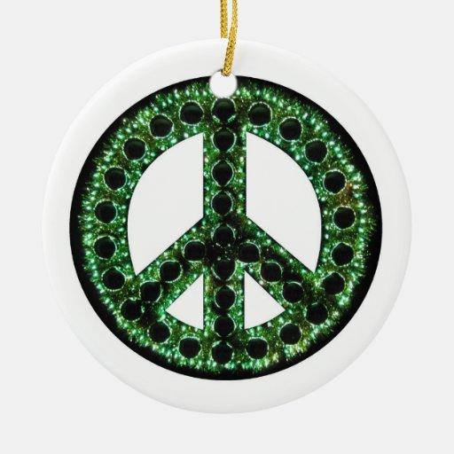 Ornamento verde de la paz adorno navideño redondo de cerámica