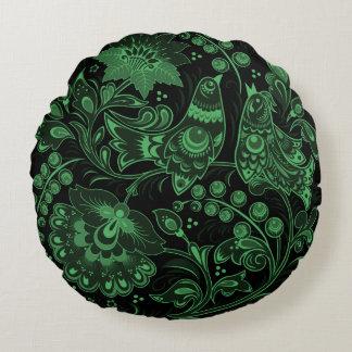 Ornamento verde de los pájaros que brilla cojín redondo
