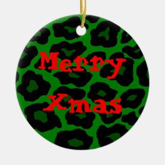 Ornamento verde de Navidad del leopardo Ornaments Para Arbol De Navidad