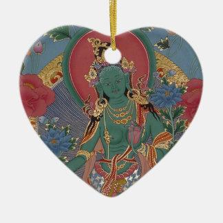 Ornamento verde de Tara Adorno Navideño De Cerámica En Forma De Corazón