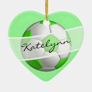Ornamento verde del árbol de navidad del balón de adorno navideño de cerámica en forma de corazón