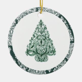 Ornamento verde del círculo del árbol de navidad adorno redondo de cerámica
