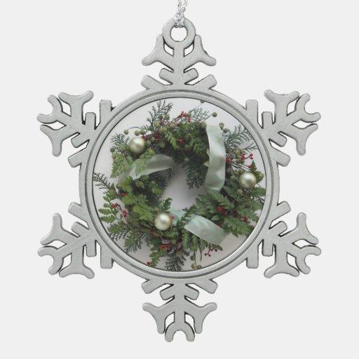 ornamento verde del copo de nieve de la guirnalda adorno de peltre en forma de copo de nieve