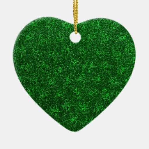 Ornamento verde del corazón de las violetas del ornamentos para reyes magos