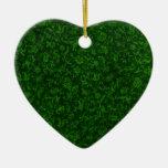 Ornamento verde del corazón del vintage adornos