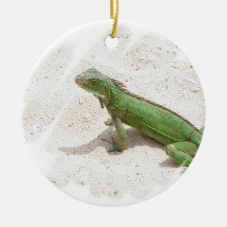 Ornamento verde del lagarto de la iguana adornos