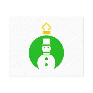 Ornamento verde del muñeco de nieve del navidad impresiones en lona