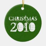 Ornamento verde del navidad 2010 adornos