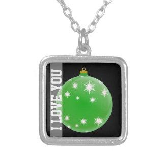 Ornamento verde del navidad te amo colgante cuadrado