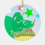 Ornamento verde del nombre del dinosaurio del ornatos