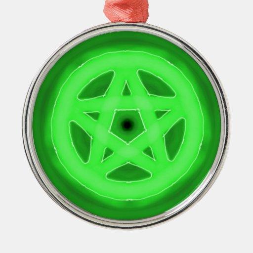 Ornamento verde del pentáculo que brilla intensame ornamentos para reyes magos