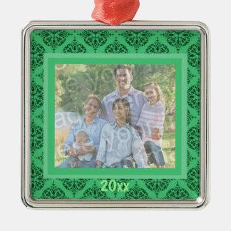 Ornamento verde del recuerdo del damasco adorno navideño cuadrado de metal
