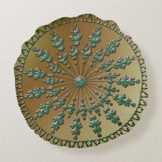 Ornamento verde hermoso cojín redondo