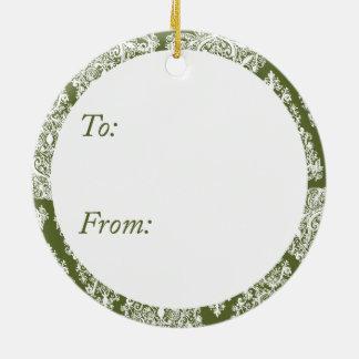 Ornamento verde oliva del círculo del árbol de adorno redondo de cerámica