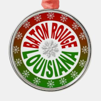 Ornamento verde rojo de Baton Rouge Luisiana Ornamento Para Arbol De Navidad