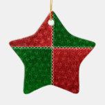 Ornamento verde rojo de las Felices Navidad del Ornaments Para Arbol De Navidad