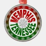 Ornamento verde rojo de Memphis Tennessee Adorno Para Reyes