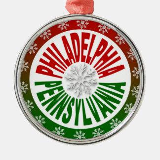 Ornamento verde rojo de Philadelphia Pennsylvania Adorno Redondo Plateado