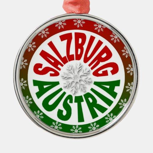 Ornamento verde rojo de Salzburg Austria Adorno Navideño Redondo De Metal