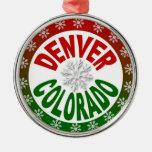 Ornamento verde rojo del copo de nieve de Denver Adorno Navideño Redondo De Metal