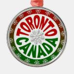 Ornamento verde rojo del copo de nieve de Toronto  Ornamentos De Navidad