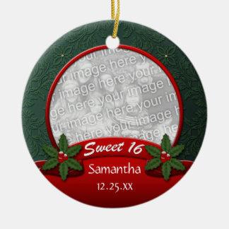 Ornamento verde rojo del dulce 16 del navidad del adorno de navidad