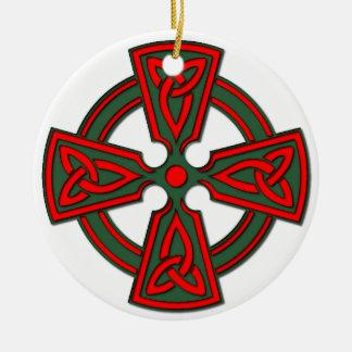 Ornamento verde rojo Galés de la cruz céltica Adorno Navideño Redondo De Cerámica