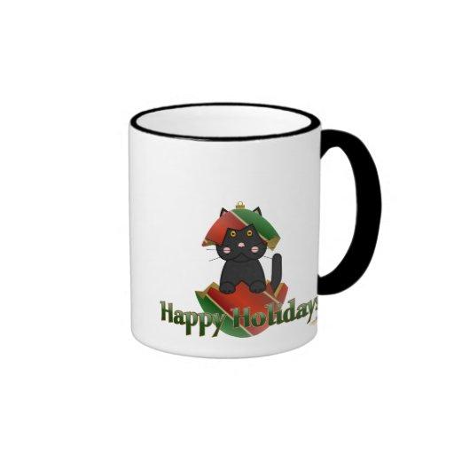 Ornamento verde rojo Holid feliz del navidad del g Taza