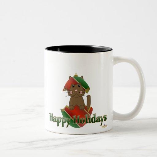 Ornamento verde rojo Holid feliz del navidad del g Taza De Café