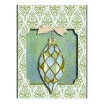 Ornamento verde y azul del árbol de navidad tarjeta postal