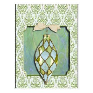 Ornamento verde y azul del árbol de navidad tarjetas postales