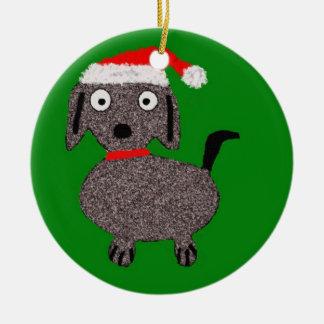 Ornamento verde y rojo del perrito del navidad ornato